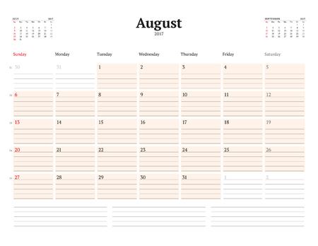 Kalendervorlage Für 2017 Jahr. August. Business Planner Vorlage ...