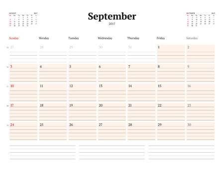 chronology: Calendar Template for 2017 Year. September. Business Planner Template. Stationery Design. Week starts Sunday. 3 Months on the Page. Vector Illustration