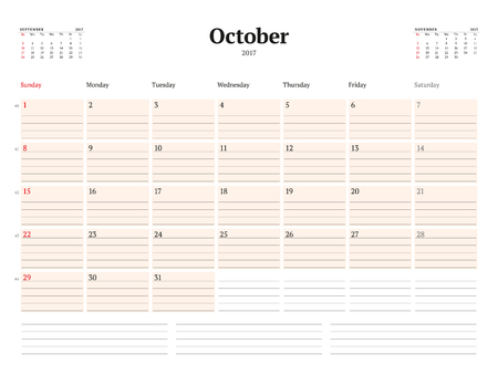 table sizes: Calendar Template for 2017 Year. October. Business Planner Template. Stationery Design. Week starts Sunday. 3 Months on the Page. Vector Illustration Illustration