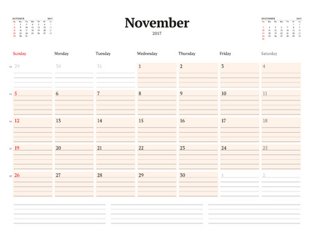 chronology: Calendar Template for 2017 Year. November. Business Planner Template. Stationery Design. Week starts Sunday. 3 Months on the Page. Vector Illustration Illustration