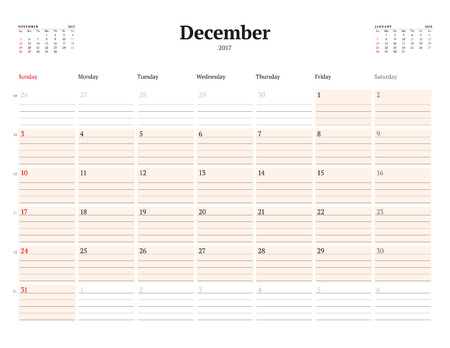 table sizes: Calendar Template for 2017 Year. December. Business Planner Template. Stationery Design. Week starts Sunday. 3 Months on the Page. Vector Illustration
