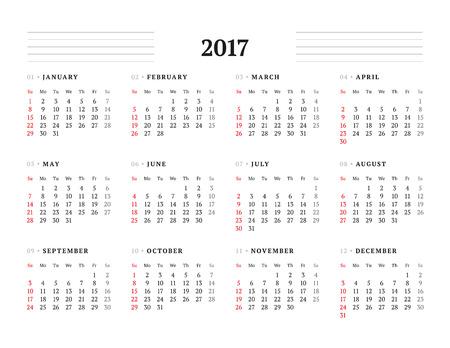 cronologia: Plantilla Calendario simple para 2017 A�o. Dise�o de papeler�a. La semana comienza el domingo. Ilustraci�n del vector Vectores