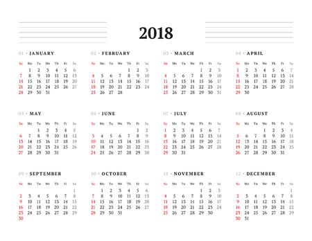 2018 년에 대한 간단한 달력 템플릿입니다. 문구 디자인. 주 일요일을 시작합니다. 벡터 일러스트 레이 션
