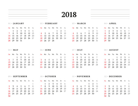 Simple Calendar Template for 2018 Year. Stationery Design. Week starts Sunday. Vector Illustration 向量圖像