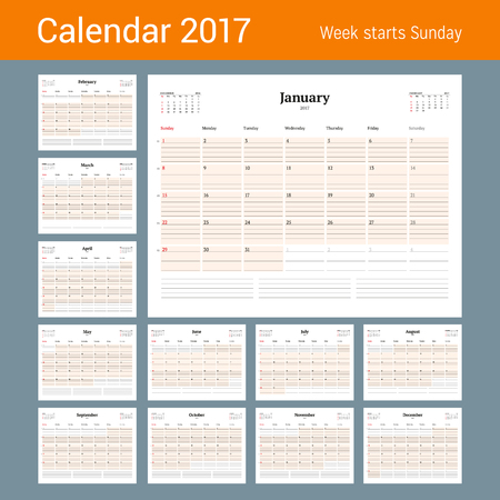 table sizes: Calendar Template for 2017 Year. Set of 12 Months. Business Planner Template. Stationery Design. Week starts Sunday. 3 Months on the Page. Vector Illustration