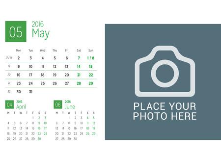 desk calendar: Calendar Template for May 2016. Week Starts Monday. Calendar Design Print Template. Vector Desk Calendar