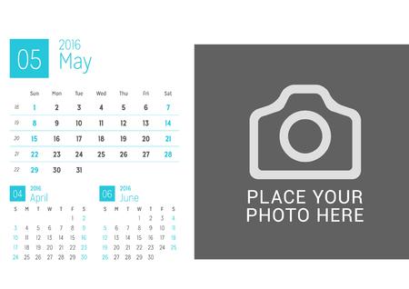desk calendar: Calendar Template for May 2016. Week Starts Sunday. Calendar Design Print Template. Vector Desk Calendar
