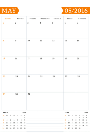 Calendar Template For May 2016 Week Starts Sunday Wall Calendar