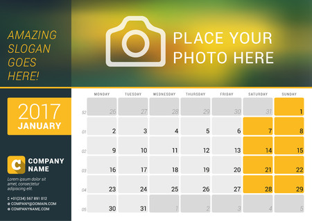 January 2017. Desk Calendar for 2017 Year. Vector Design Print Template with Place for Photo, Logo and Contact Information. Week Starts Monday. Calendar Grid with Week Numbers and Place for Notes