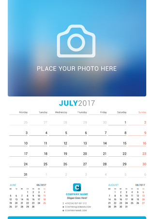 chronology: July 2017. Wall Monthly Calendar for 2017 Year. Vector Design Print Template with Place for Photo. Week Starts Monday. 3 Months on Page Illustration