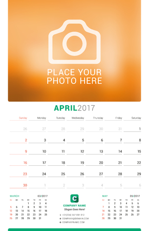 chronology: April 2017. Wall Monthly Calendar for 2017 Year. Vector Design Print Template with Place for Photo. Week Starts Sunday. 3 Months on Page