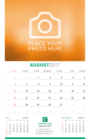 chronology: August 2017. Wall Monthly Calendar for 2017 Year. Vector Design Print Template with Place for Photo. Week Starts Sunday. 3 Months on Page
