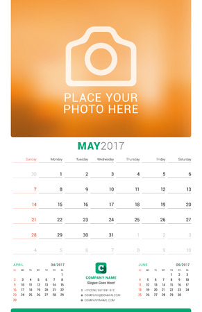 chronology: May 2017. Wall Monthly Calendar for 2017 Year. Vector Design Print Template with Place for Photo. Week Starts Sunday. 3 Months on Page