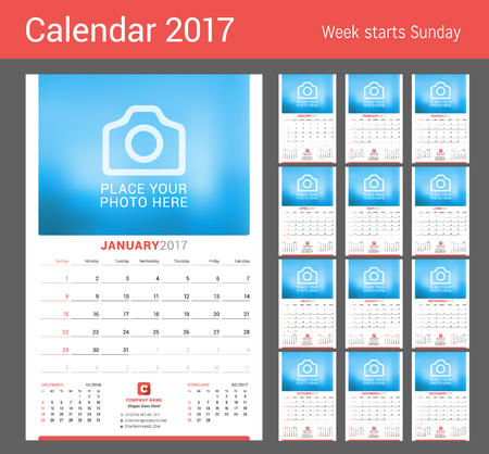 chronology: Wall Monthly Calendar for 2017 Year. Vector Design Print Template with Place for Photo. Week Starts Sunday Illustration