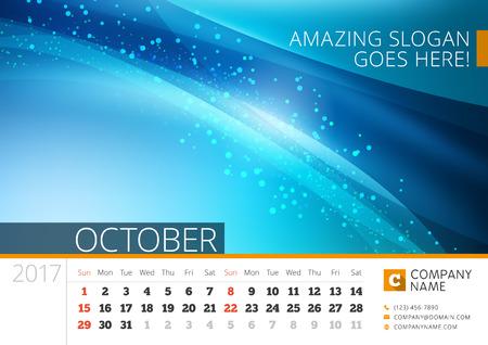 desk calendar: Desk Line Calendar for 2017 Year. Design Print Template with Abstract Background. Illustration