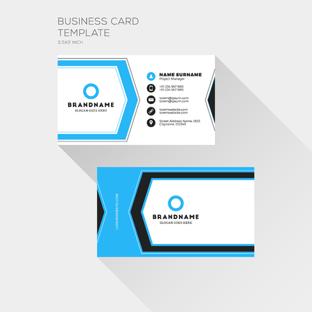 Corporate Business Card Print Template. Personal Visiting Card with company Logo. Clean Flat Design. Vector Illustration