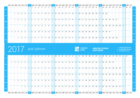 chronology: Yearly Wall Calendar Planner Template for 2017 Year. Vector Design Print Template. Week Starts Monday Illustration