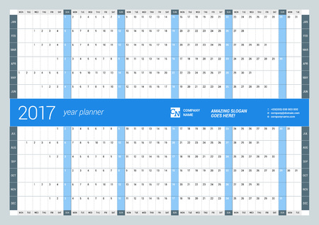 yearly: Yearly Wall Calendar Planner Template for 2017 Year. Vector Design Print Template. Week Starts Monday Illustration