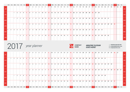 2017 년에 대한 연간 벽 일정 계획 템플릿입니다. 벡터 디자인 인쇄 템플릿입니다. 주 월요일을 시작합니다 일러스트