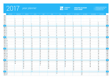 cronologia: Plantilla Calendario Planificador anual Wall en 2017 año. Diseño del vector plantilla de impresión. La semana comienza el lunes