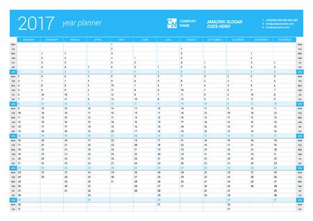 Roczny Szablon ścienny kalendarz na 2017 rok Planner. Wektor szablonu projektu do druku. Tydzień zaczyna się w poniedziałek