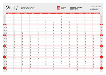 2017 年間の年間壁カレンダー プランナー テンプレートベクター デザインの印刷テンプレートです。月曜始まり