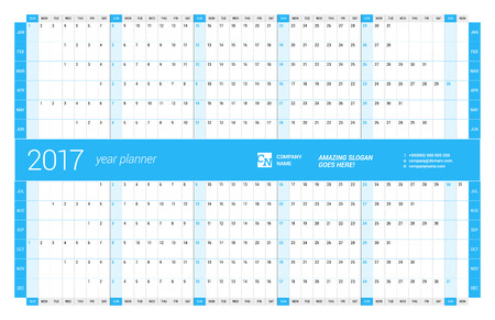 week planner: Yearly Wall Calendar Planner Template for 2017 Year. Vector Design Print Template. Week Starts Sunday