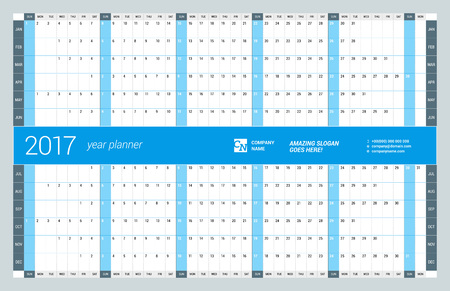 chronology: Yearly Wall Calendar Planner Template for 2017 Year. Vector Design Print Template. Week Starts Sunday