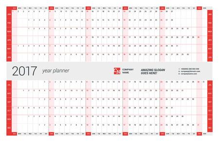 2017 年間の年間壁カレンダー プランナー テンプレートベクター デザインの印刷テンプレートです。週の開始日
