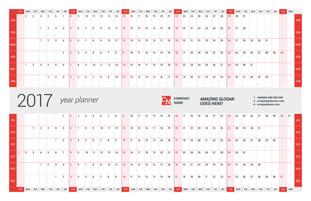 Yearly Wall Calendar Planner Template for 2017 Year. Vector Design Print Template. Week Starts Sunday Banco de Imagens - 56571362