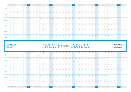 yearly: Yearly Wall Calendar Planner Template for 2016 Year. Vector Design Print Template. Week Starts Monday. Landscape orientation
