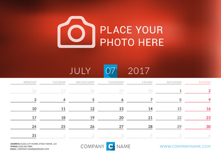 desk calendar: Desk calendar for 2017 year. Vector print template with place for photo. July. Week starts Monday