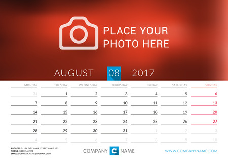 desk calendar: Desk calendar for 2017 year. Vector print template with place for photo. August. Week starts Monday Illustration