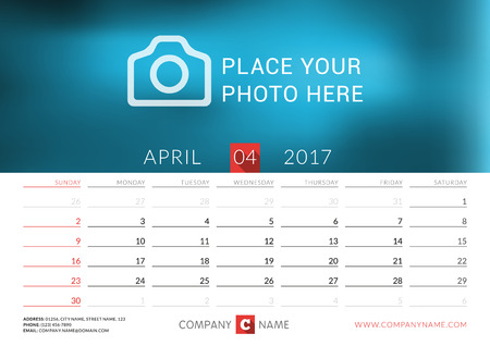 desk calendar: Desk calendar for 2017 year. Vector print template with place for photo. April. Week starts Sunday