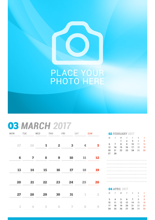 cronologia: March 2017. Wall Monthly Calendar for 2017 Year. Vector Design Print Template with Place for Photo. Week Starts Monday. 3 Months on Page. Planner Template. Stationery Design Vectores