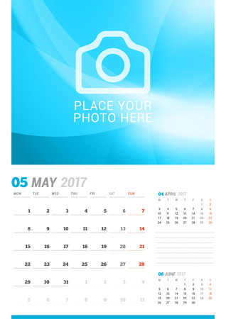 cronologia: May 2017. Wall Monthly Calendar for 2017 Year. Vector Design Print Template with Place for Photo. Week Starts Monday. 3 Months on Page. Planner Template. Stationery Design Vectores