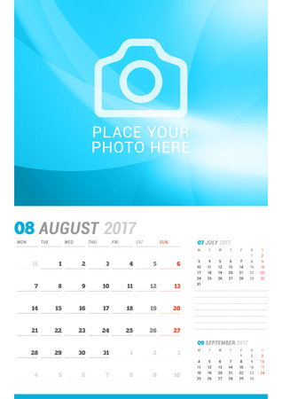 chronology: August 2017. Wall Monthly Calendar for 2017 Year. Vector Design Print Template with Place for Photo. Week Starts Monday. 3 Months on Page. Planner Template. Stationery Design Illustration