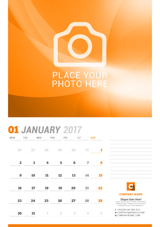 chronology: January 2017. Wall Monthly Calendar for 2017 Year. Vector Design Print Template with Place for Photo. Week Starts Monday. Planner Template. Stationery Design