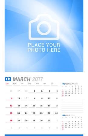 cronologia: March 2017. Wall Monthly Calendar for 2017 Year. Vector Design Print Template with Place for Photo. Week Starts Sunday. 3 Months on Page. Planner Template. Stationery Design