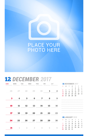 cronologia: December 2017. Wall Monthly Calendar for 2017 Year. Vector Design Print Template with Place for Photo. Week Starts Sunday. 3 Months on Page. Planner Template. Stationery Design Vectores