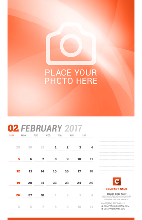 chronology: February 2017. Wall Monthly Calendar for 2017 Year. Vector Design Print Template with Place for Photo. Week Starts Sunday. Planner Template. Stationery Design