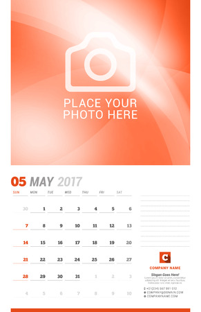 cronologia: May 2017. Wall Monthly Calendar for 2017 Year. Vector Design Print Template with Place for Photo. Week Starts Sunday. Planner Template. Stationery Design