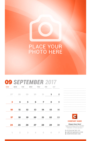 cronologia: September 2017. Wall Monthly Calendar for 2017 Year. Vector Design Print Template with Place for Photo. Week Starts Sunday. Planner Template. Stationery Design Vectores