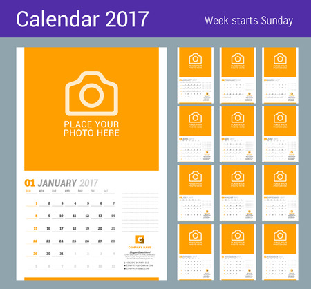 chronology: Wall Monthly Calendar for 2017 Year. Vector Design Print Template with Place for Photo. Week Starts Sunday. Planner Template. Stationery Design