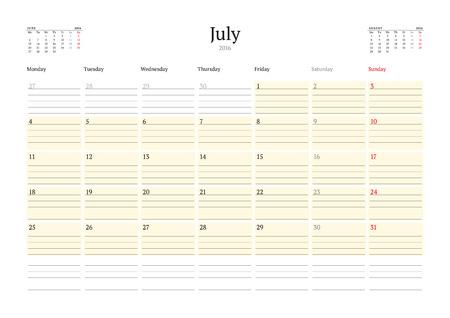 jule: Calendar Template for Jule 2016. Week Starts Monday. Planner Design Print Template. Vector Calendar. Stationery Design