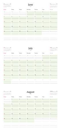 sunday paper: Set of Calendar Templates for June, July, August 2016. Week Starts Sunday. Summer 2016. Planner Design Print Template. Vector Calendar. Stationery Design Illustration