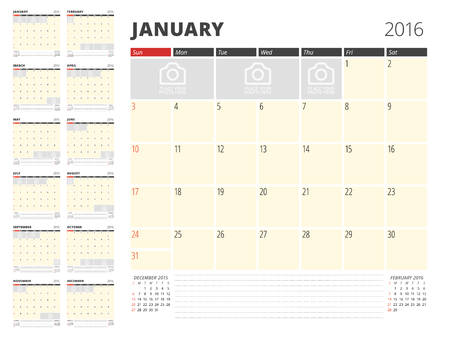 table sizes: Calendar Planner Template for 2016 Year. Vector Design Print Template. Week Starts Sunday. Calendar Grid with Place for Photos and Notes. Set of 12 Months