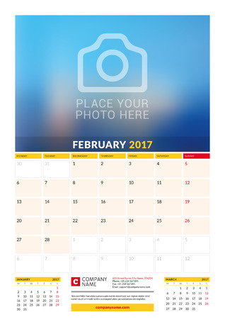 sunday paper: February 2017. Wall Monthly Calendar for 2017 Year.