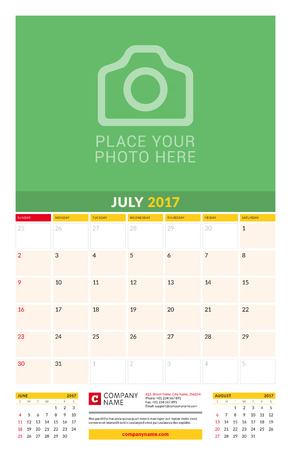 monthly calendar: July 2017. Wall Monthly Calendar for 2017 Year.