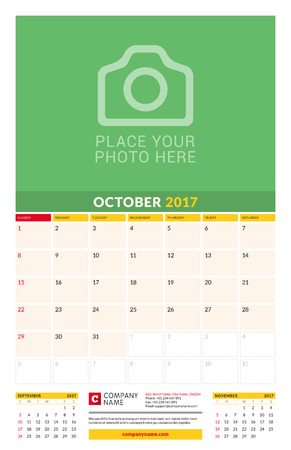 chronology: October 2017. Wall Monthly Calendar for 2017 Year. Vector Design Print Template with Place for Photo. Week Starts Sunday. 3 Months on Page. Planner Template. Stationery Design